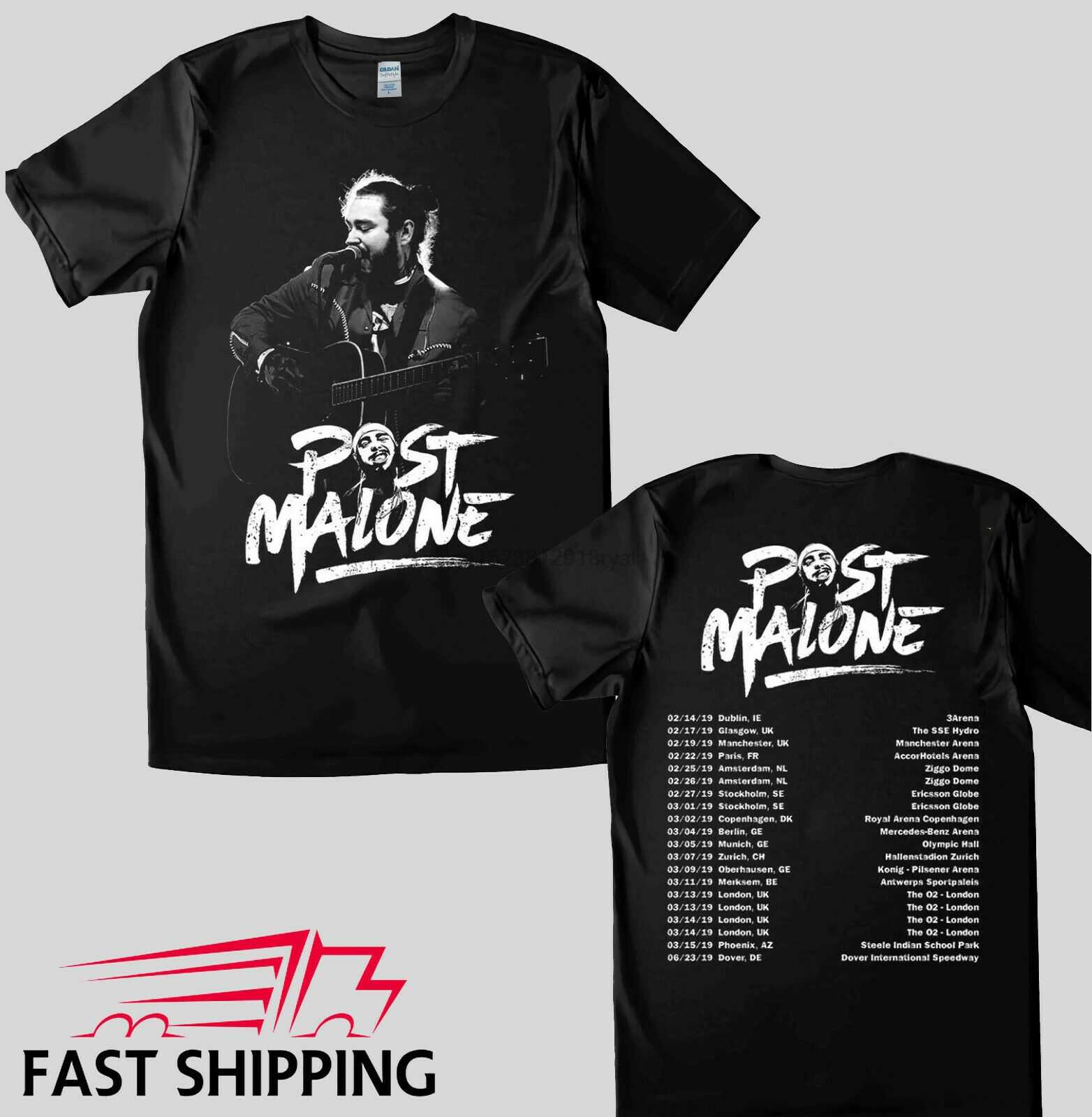 Post Malone Tour Dates 2019 t-shirt couleur noire 100% coton meilleur article