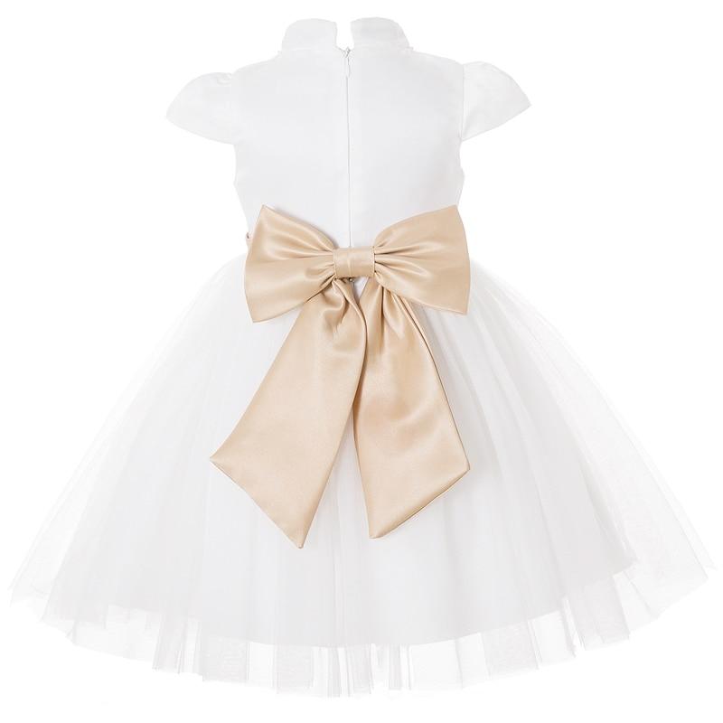 Cielarko Kids Dress for Girl Princess Big Bow Elegant Dresses White Gold Flower Girls Wedding Party Dress Fancy Design Collar in Dresses from Mother Kids