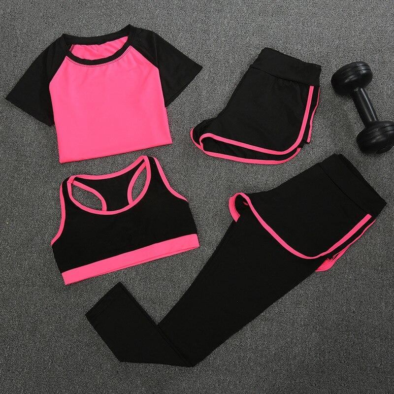4 PCS Women Sport Clothes Set 2018 New Arrivals Yoga Suit Fast Dry Leisure Fitness Sportswear