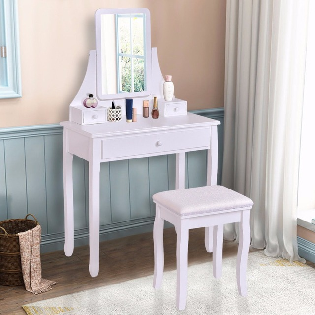 Goplus White Makeup Dressing Table Vanity Desk And Stool Set With Square Mirror 3 Drawers