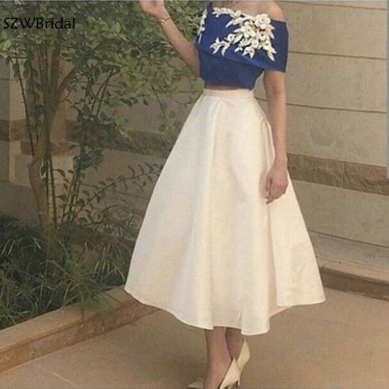 New Arrival Two pcs Royal blue Short   evening     dress   2019 Flower Lace Appliques Sexy Prom   evening   gown abiye vestidos elegantes