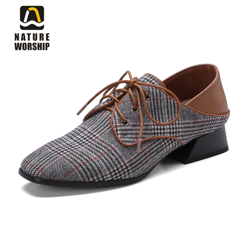 2018 Genuine leather shoes women flat lace-up square toe soft spring/autumn casual shoes plaid women shoes shallow loafers women flat polka dot square toe lace up casual shoes new arrival fashion genuine leather spring autumn shoes 20170214