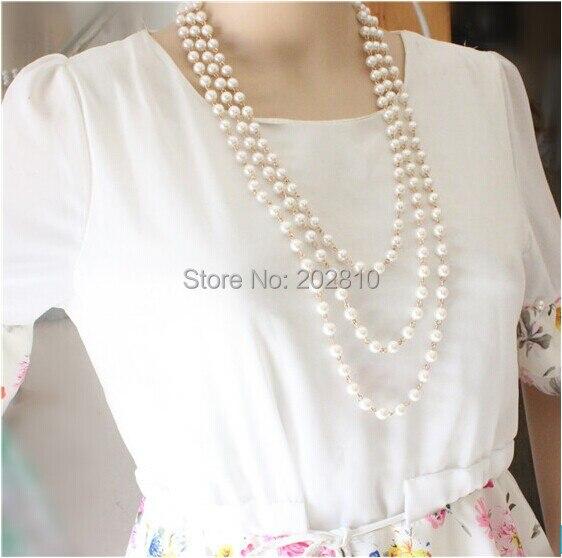 Moda Four seasons wear 3 Layer columna perlas suéter joker collar para niñas oro-colr Buena calidad