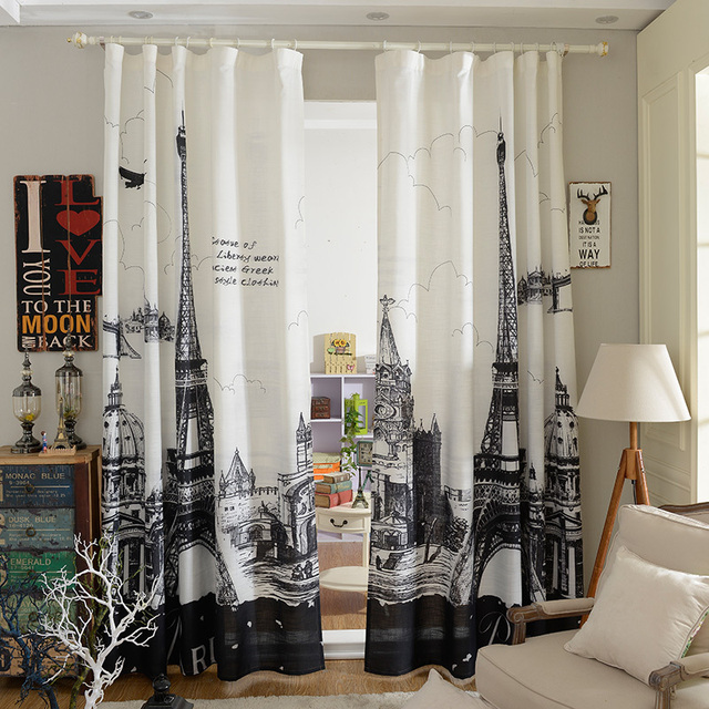 3D Black And White Paris Living Room Curtains Blackout Curtains 1.35*2.5 M  Free Shipping