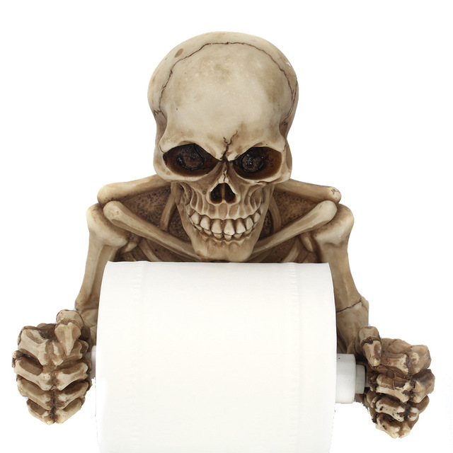 Creative Skull Statue Roll Paper Holder Wall Mount Resin Sculpture Home Desk Decor Gift Halloween Party Decoration Dropshipping 4