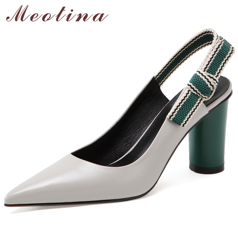 Meotina High Heels Women Slingbacks Shoes Natural Genuine Leather Round High Heels Shoes Bow Pointed Toe