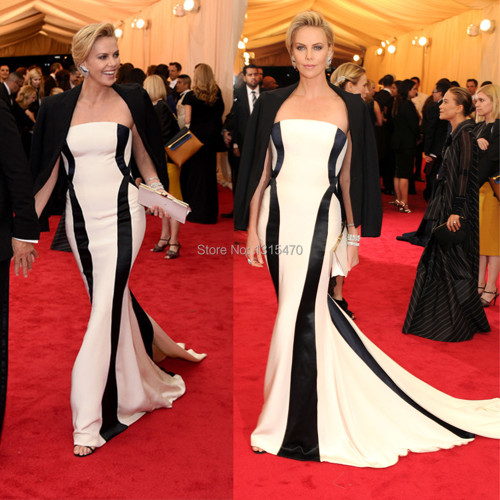 Custom made met gala charlize theron red carpet black and white evening dresses satin celebrity - Black and white red carpet dresses ...