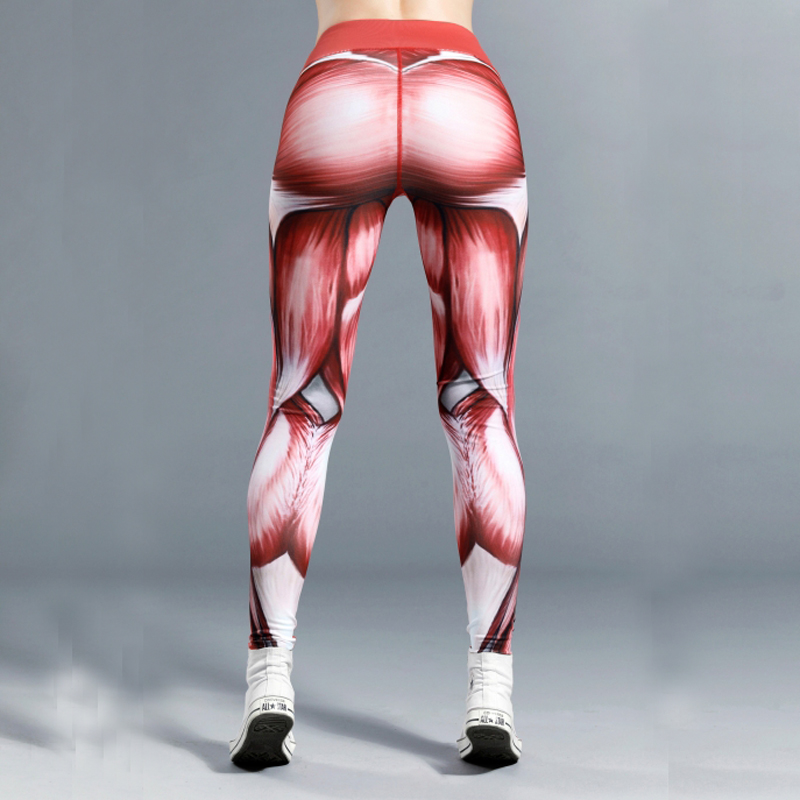 New Hotsale ! Quality Women Muscle Power Print Leggings Thick Elastic Female Gymming Sporting Dropshipping Girl Leggings material girl new black animal print leggings msrp $22 5 dbfl