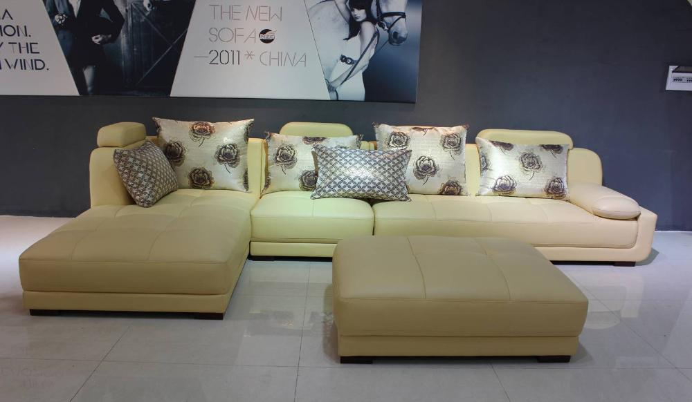 Free Shipping Modern Design,Beige Top Grain Catle leather Sofa Set - Furniture