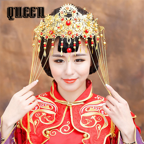 Wedding Hairstyle Prices: Hot Sale Chinese Natioanl Trend Red Pearl Wedding Bridal