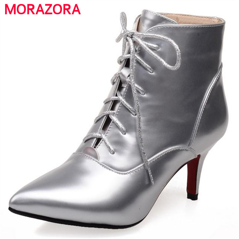 MORAZORA New women shoes ankle boots front lace-up pointed toe patent leather solid spring autumn large size boots 34-43MORAZORA New women shoes ankle boots front lace-up pointed toe patent leather solid spring autumn large size boots 34-43