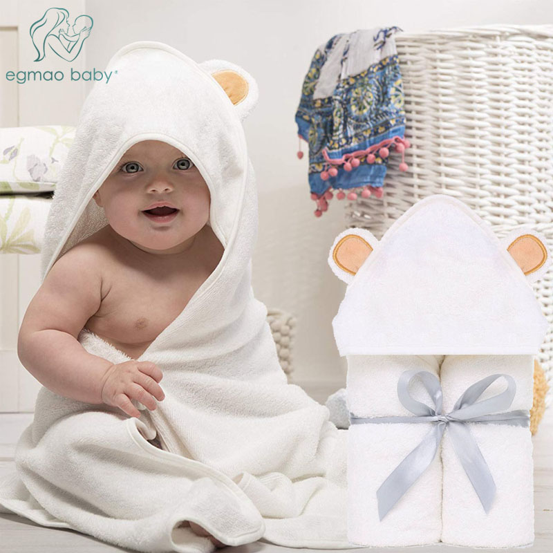 Premium Baby Hooded Towels Baby Washcloth Set Organic Bamboo Hooded Baby Towel Extra Soft And Thick Baby Newborn Bath Towel