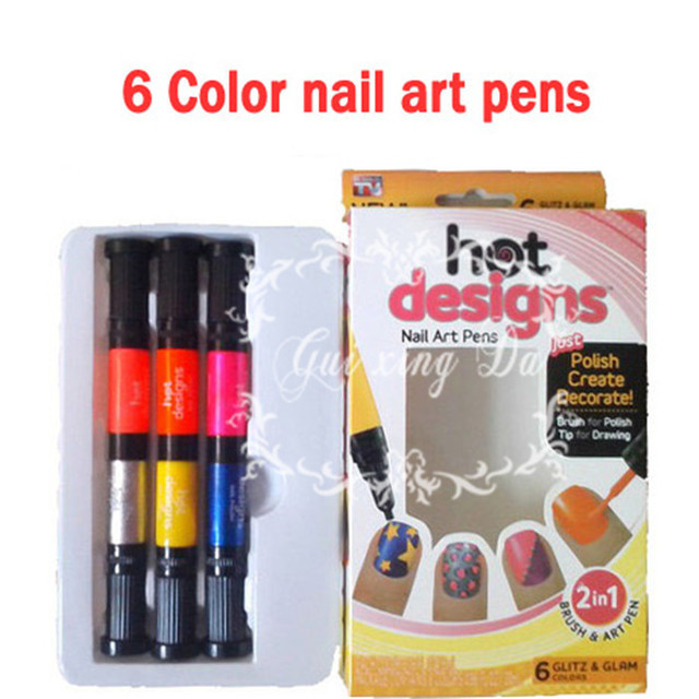 100Pcs\\Lot hot designs nail art pens Basic Kit ,nails art tools,6 ...