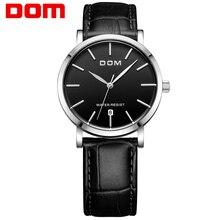 Reloj Dom informal resistente al agua Mesa vintage Mesa masculina ultradelgada correa de cuero genuino relojes de mesa para hombre M-259L-1M