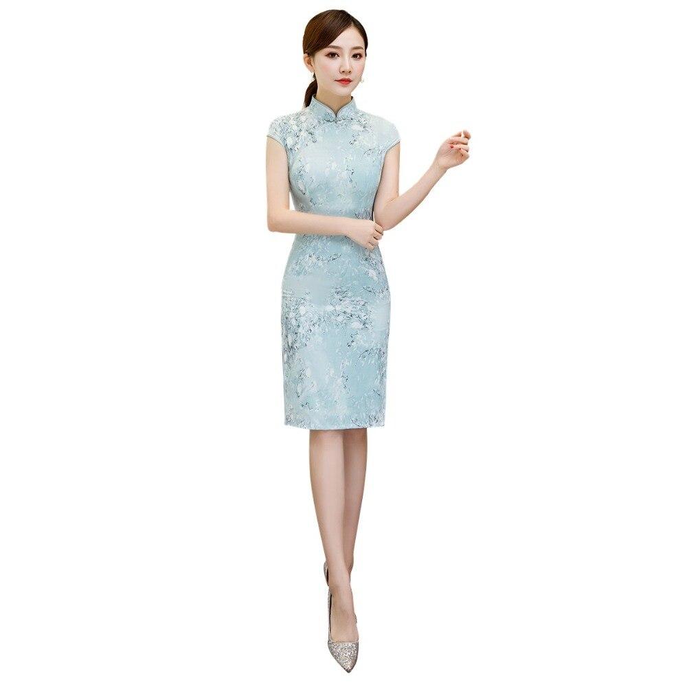 Shanghai Story Faux Silk Short Sleeve Floral Qipao  Cheongsam Dress Chinese Traditional Dress For Women