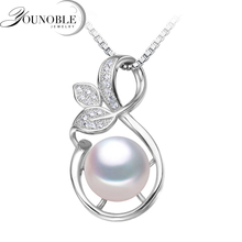 YouNoble Freshwater Pearl Pendant Natural for Women,White 925 Sterling Silver Pendant Necklace Girl Best Friends Birthday Gift цена и фото