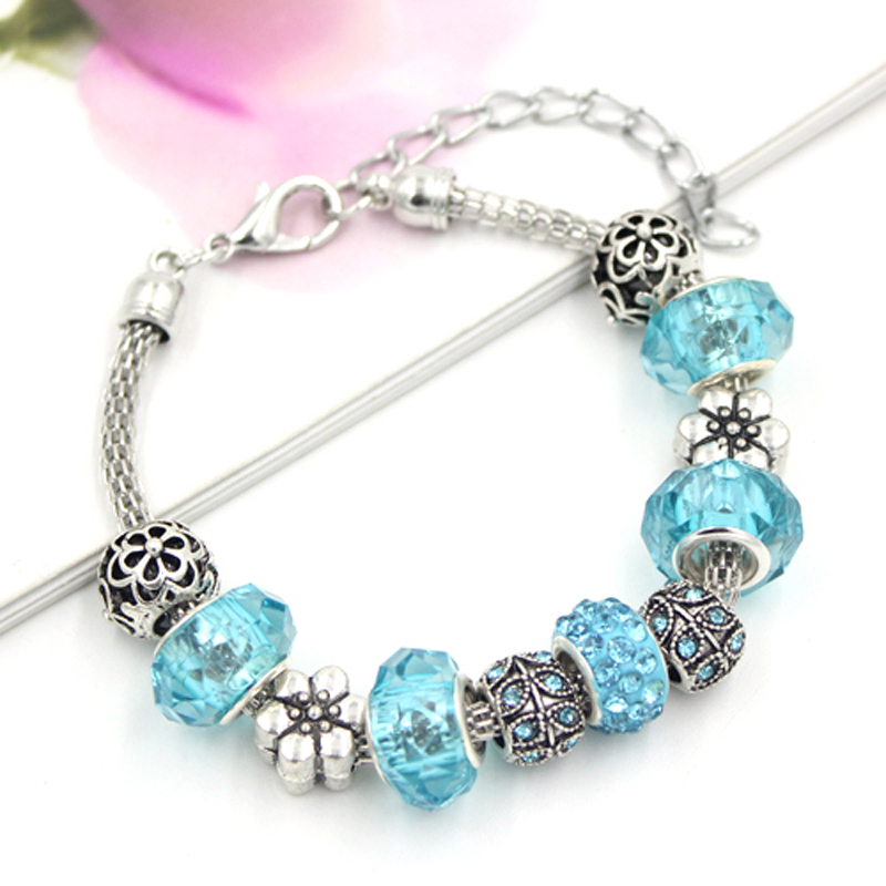 10PCS/Lot Wholesale bracelets&bangles 3 Colors European Crystal Leaf Flower Spring Bracelet women Pulsera Brinco