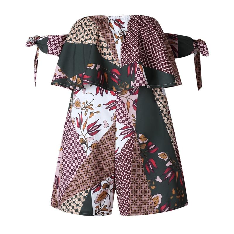 Romantichut Off Shoulder Ruffles Strapless Sexy Playsuit Women Print Bodysuits Short Jumpsuit Rompers Casual Streetwear 2018