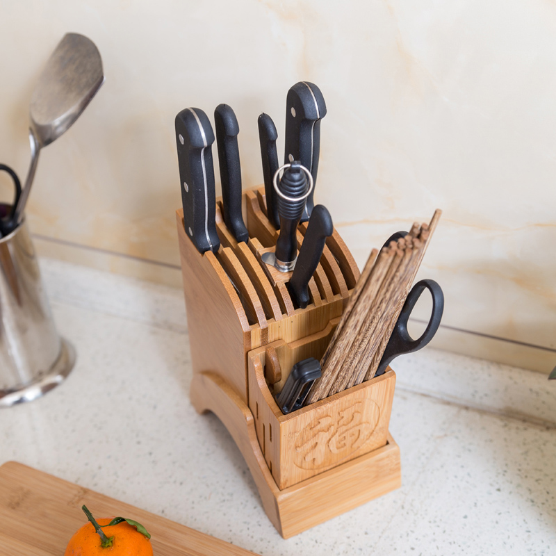 Creative Kitchen Wood Knife Holder For Chopsticks Fork Scissors Storage Box Bamboo Knife Block Stand Cooking Tool 1