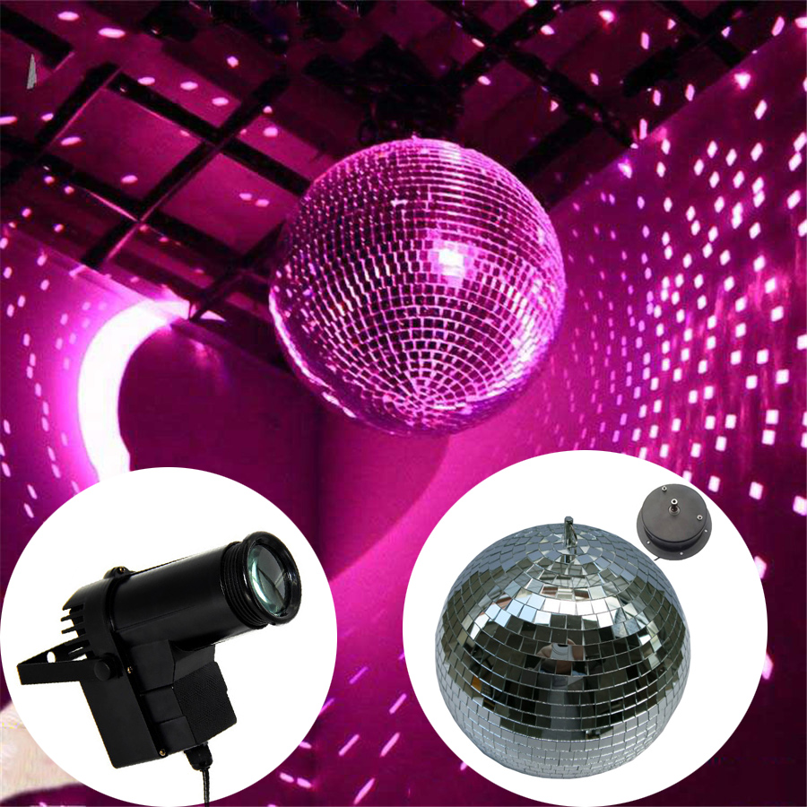 D20CM Clear Glass Rotating Mirror Ball With Rotation Motor + 10W RGB Beam Pinspot Disco DJ Stage Light DJ KTV Bar Party Lamps colorfull light mirror reflection glass ball stage festival hanging ball motor 10inch 19cm