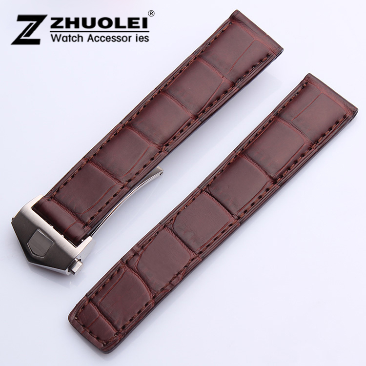 купить Promotion NEW high quality 20mm Brown Genuine Alligator Croco Leather Strap Watch Band Silver Depolyment Buckle Clasp For BRAND по цене 6792.95 рублей