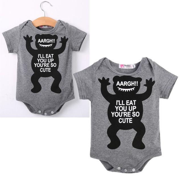 e79a1edf49ad Cute Baby Boys Girls Babygrow Quote Monster Vest Romper Outfits Baby ...