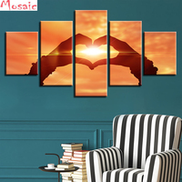 diy Diamond Painting cross stitch5pcs Sunset love handfull display Diamond Embroidery sale of painting Full Square Mosaic