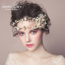 Himstory Baroque Gold Clover Leaf Hair Crown Wedding Prom Tiara Headband Pearls Bridal Piece Accessories Hairband