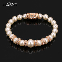 DFH055 Pearl Beads Rose Gold Color Rope Chain Charms Bracelets & Bangles Fashion Cubic Zirconia Jewelry For Women