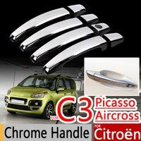 For Citroen C3 Picasso Aircross 2009 2016 Chrome Handle Covers Trim Set Of 4Pcs Car Accessories