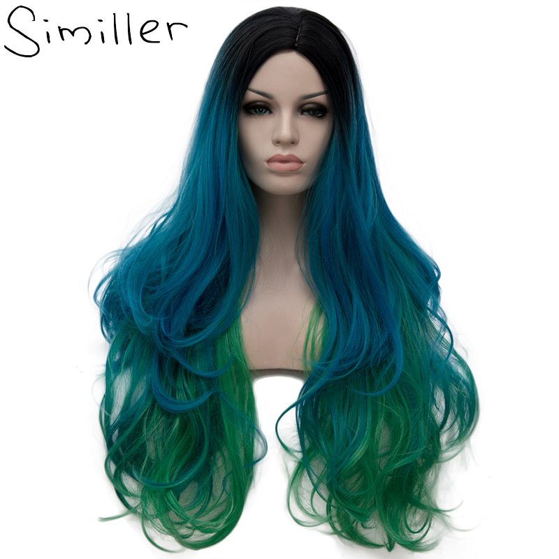 Similler 30 Wavy Middle Parting Ombre Three Tones Long Synthetic Wigs for Women Cosplay 5 Colors Available Green Purple Pink