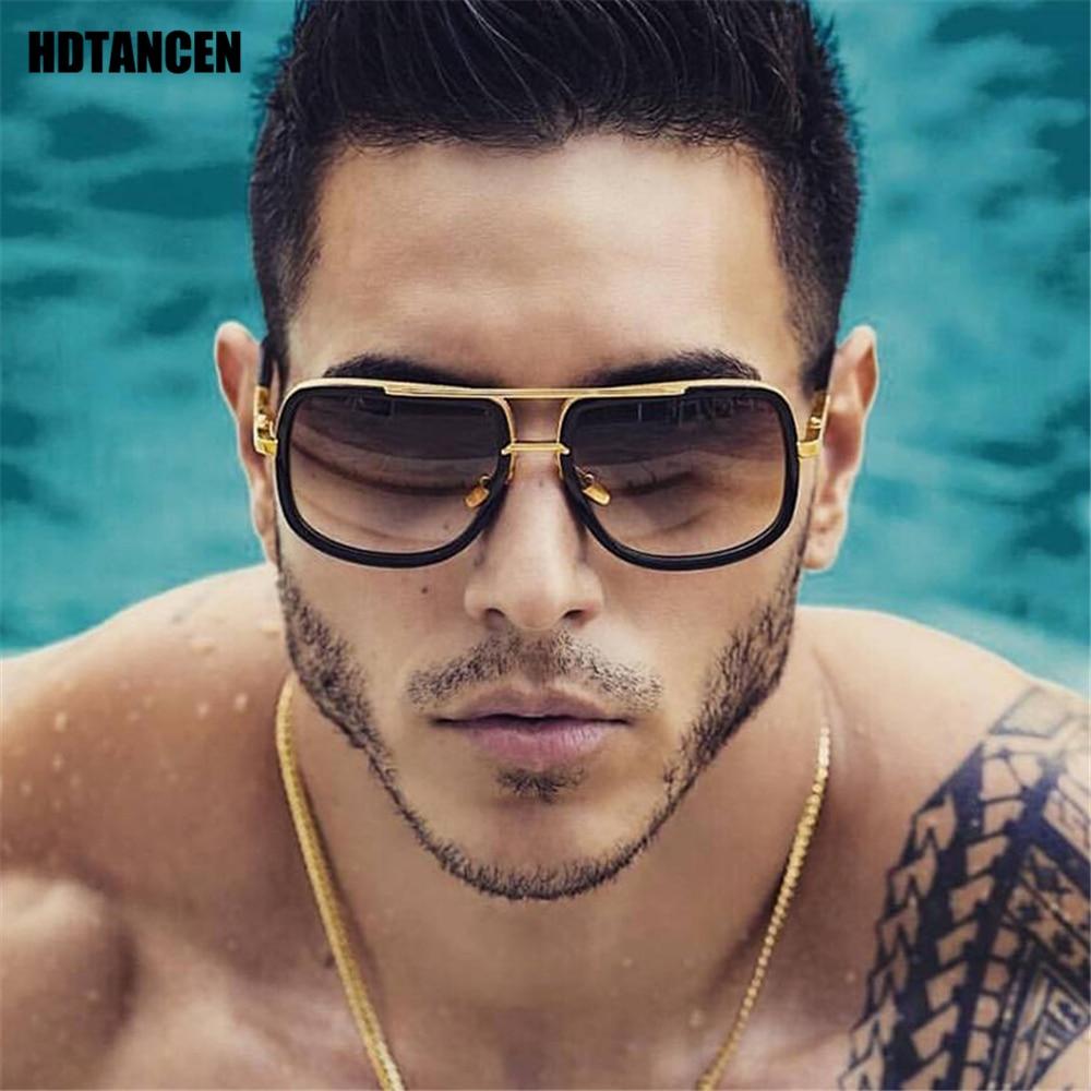 HDTANCEN New Fashion Big Frame Sunglasses Men Square Glasses for Women High Quality Retro Sun Vintage