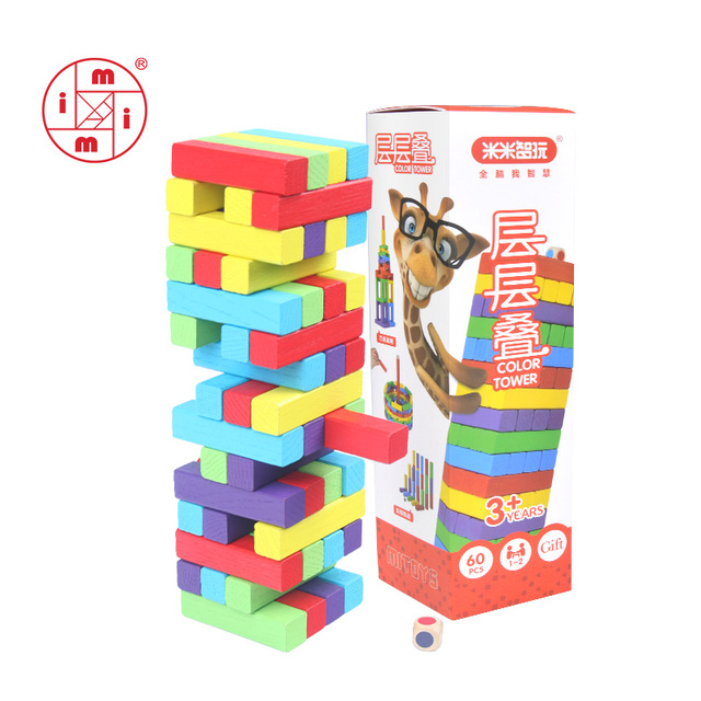 MITOYS 60 PCS colorful Wooden blocks Tower Blocks Toy Domino Stacker Board Game Family/Party Funny Extract Building Blocks
