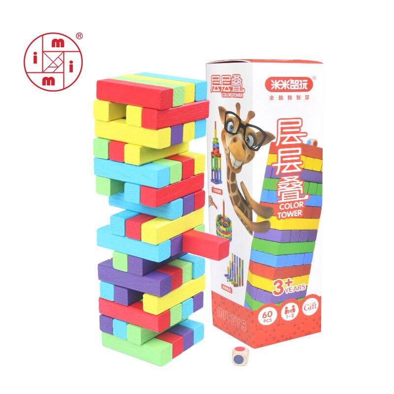 MITOYS 60 pièces En Bois coloré cubes Blocs Jouet Domino Empileur Jeu de société Famille/Fête Drôle De Blocs De Construction