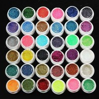 Fashion 36 Mixed Color Glitter UV Gel Builder Manicure Nail Art 8ml Pot Charming Nail Gel