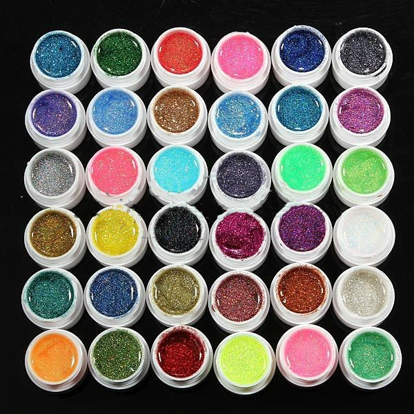 Fashion 36 mixed color Glitter UV Gel Builder Manicure nail art 8ml/pot Charming Nail Gel Polish