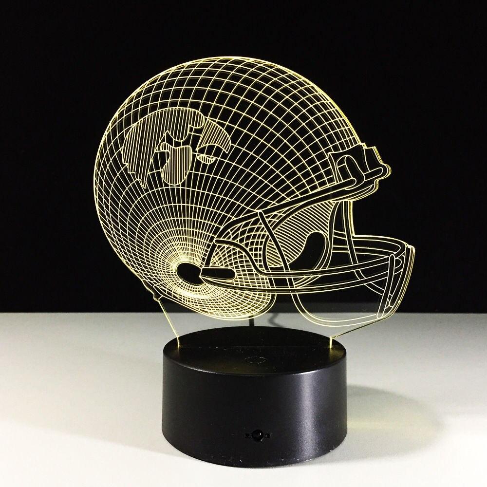 Illusion Kid/Children Gift Ncaa Football Iowa Hawkeyes 3D Helmet Art Light 7color Change Led Table Lamp