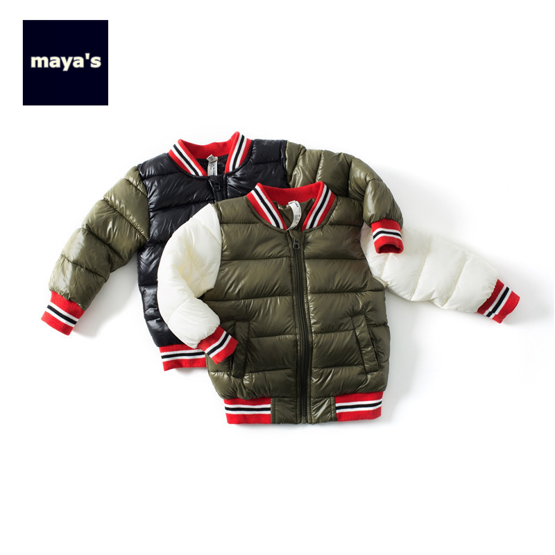 Mayas Fashion Winter Warm Color Blocking Boys font b Parkas b font Children Spliced Ribbed Basic