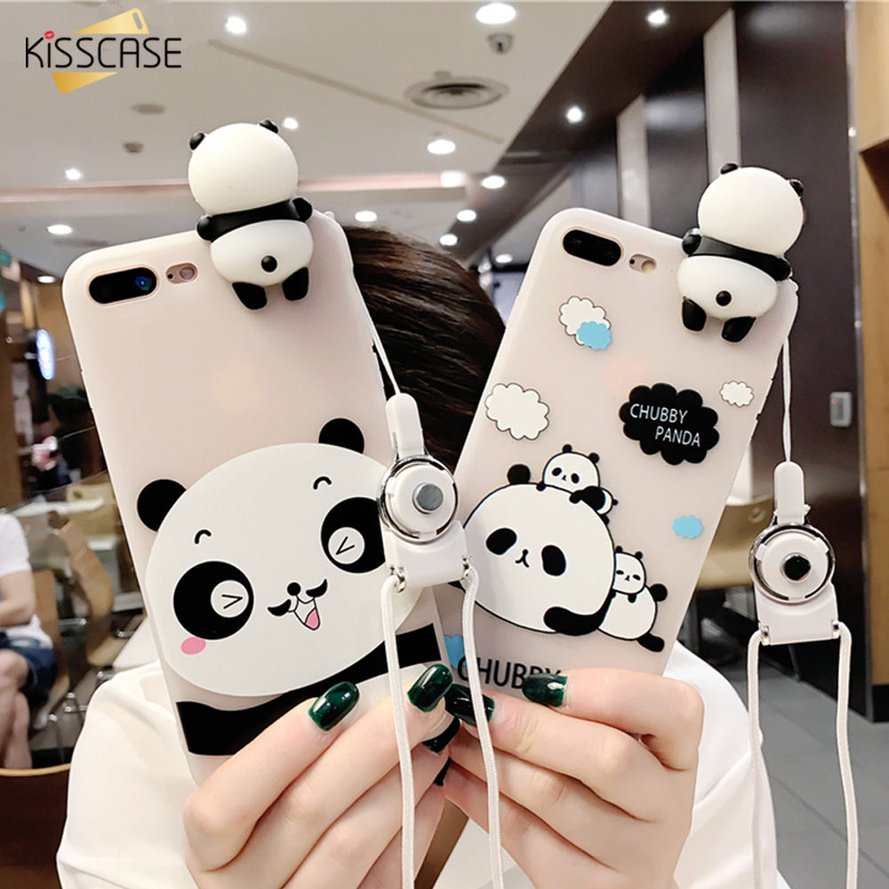 KISSCASE Cute Panda Case For iPhone 7 8 6 6S Plus Protective Mobile Phone Back H
