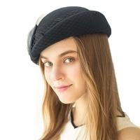 Womens Fascinator Hats Bowknot Veil Wool Pillbox Hats Beret Hats for Women Formal Dress Cocktail Race Wedding Hat FedoraM135