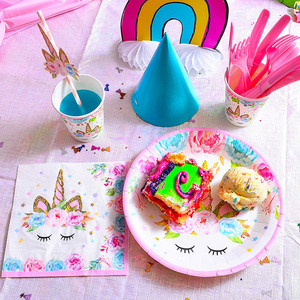 Image 5 - Unicorn Cake Topper Unicornio Horn Ears Cake Decorations Cupcake Toppers Baby Shower Birthday Party Supplies Baking Tools