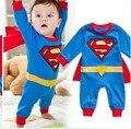 Superhero Superman roupas infantis roupas de bebê menino da criança de manga comprida primavera outono macacão de algodão vermelho e azul romper