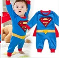 Superman infant clothes baby boy clothing  toddler  superhero long sleeve spring autumn  jumpsuit red and blue cotton romper
