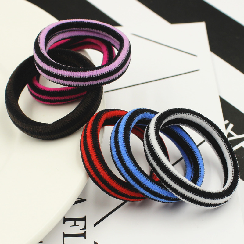 6PCS Stripe Color Women Elastic Cloth Hair Bands Scrunchie Hair Tie Ring Rope Girls' Ponytail Holder Casual Headwear Accessories hair tie 3pcs