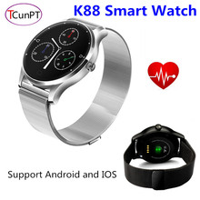New Fashion K88 Smart Watch 1.22 Round Screen Bluetooth Phone Support Heart Rate Monitor Bluetooth SmartWatch for IOS & Android