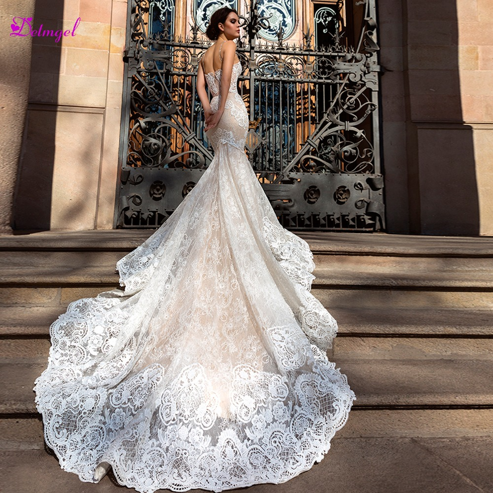 Sweetheart Neckline Lace Mermaid Wedding Dresses New 2019: Gorgeous Sweetheart Neck Appliques Lace Mermaid Wedding