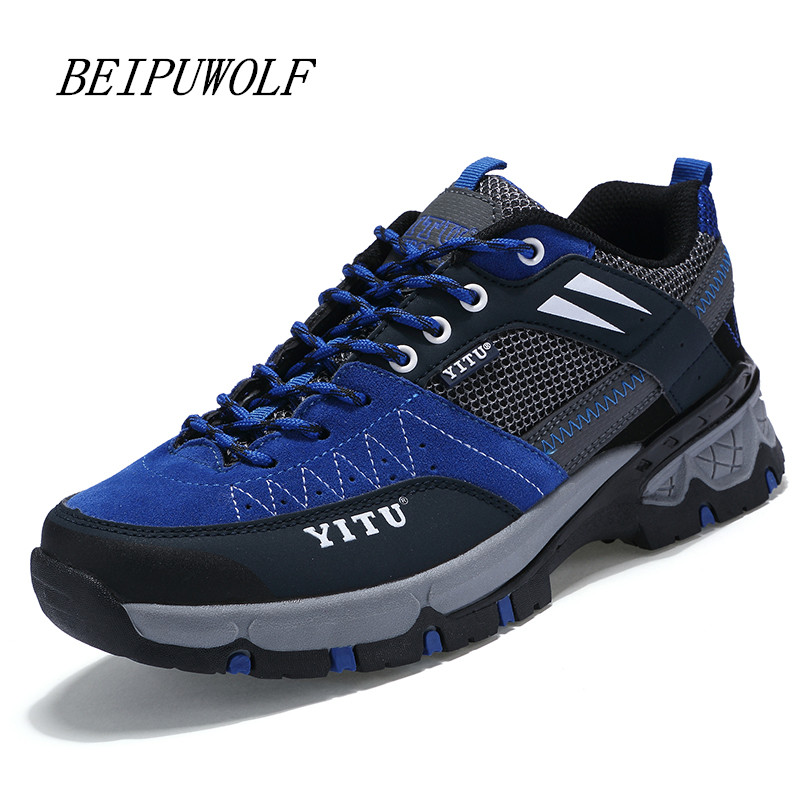 ФОТО High Quality 2016 New Men and Women's Hiking Shoes Comfortable Lace-up Lovers Climbing Shoes Anti-skidding Outdoor Sneakers