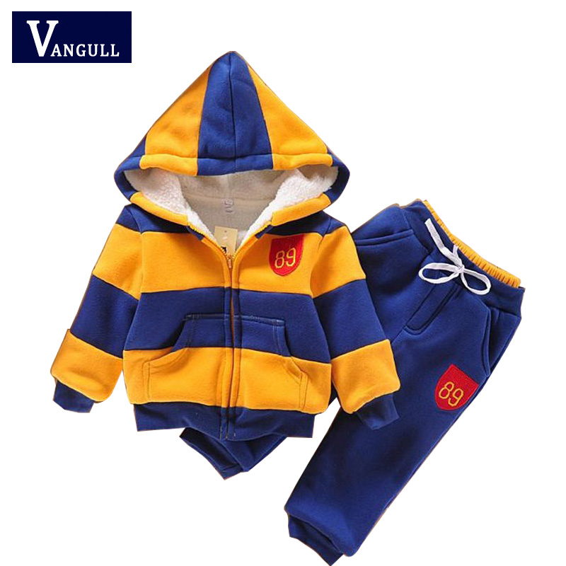 2017  sports suit jacket sweater coat & pants thicken kids clothes set Hot sell boys girls children winter wool sherpa 2016 new suit boys clothes brand winter sweater for kids 3 13 year with m word three piece set boys vest pants coat a 26145