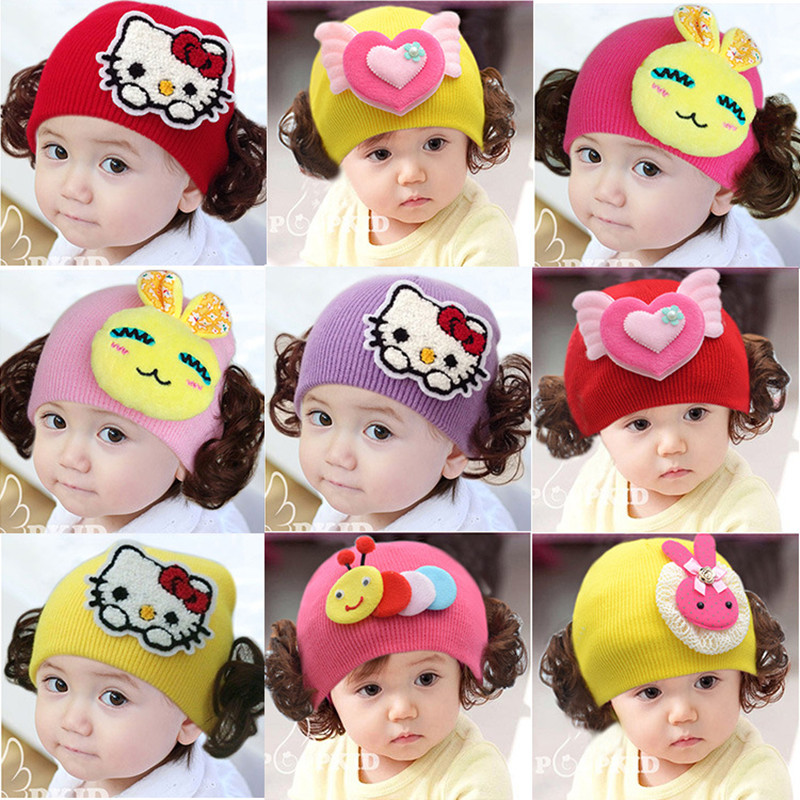 Beanies new female baby wig hat infants and young children cartoon hedging wool hat knitted autumn and winter princess hat