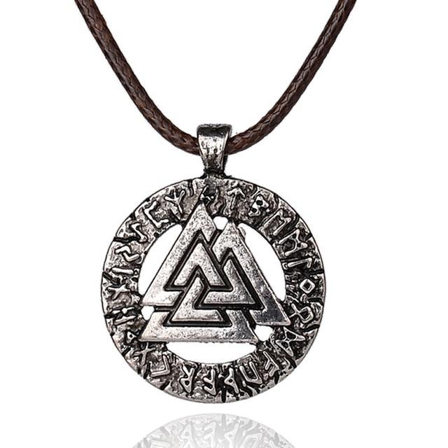 Pagan Amulet Pendant Men Necklace Scandinavian Viking Jewelry Odin